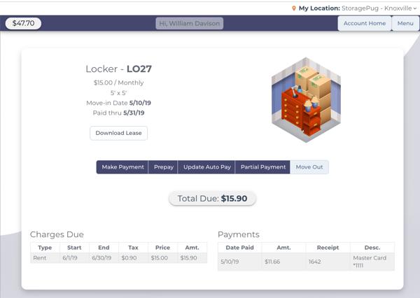 Unit Summary - StoragePug Customer Portal