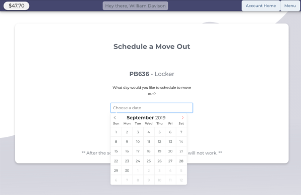 Schedule A Move Out Date - StoragePug Customer Portal