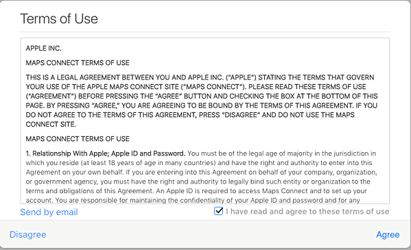 Terms of Use - Apple Maps Connect