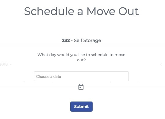 In the StoragePug Self Storage payment portal tenants can schedule a move out date.