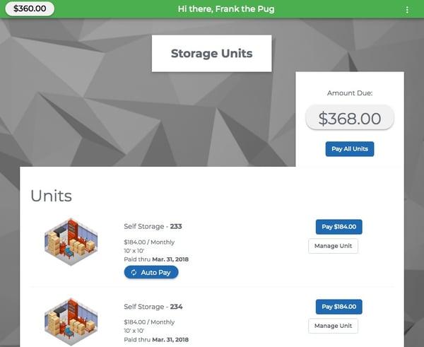 Self Storage Payment Portal built by StoragePug