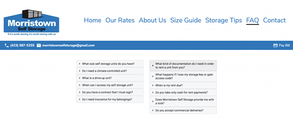 Morristown Self Storage FAQ desktop responsive size