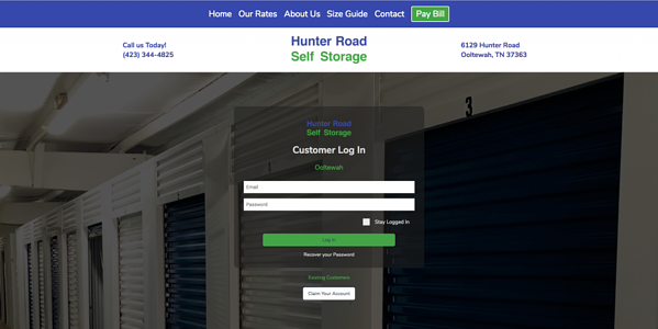 Hunter Road Self Storage portal login