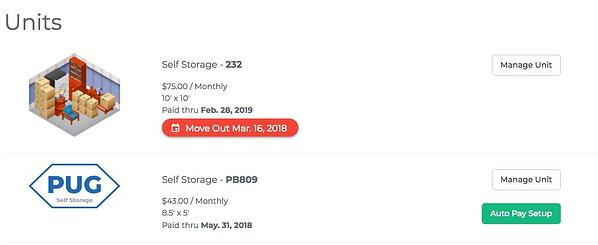StoragePug's Marketing websites allow tenants to schedule a move out date