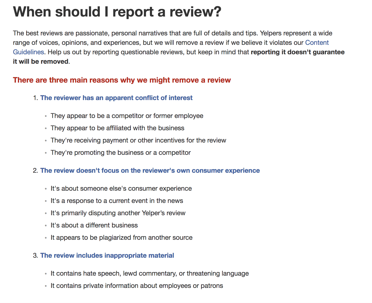 When to report a review
