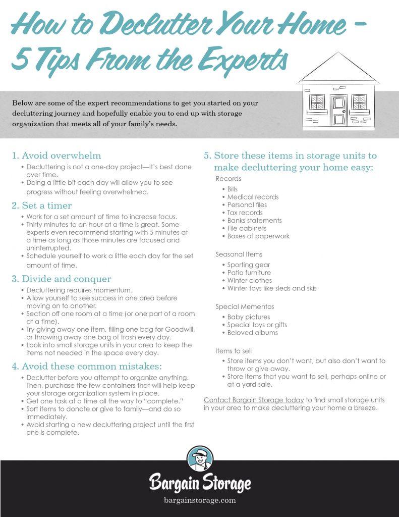 declutter storage checklist