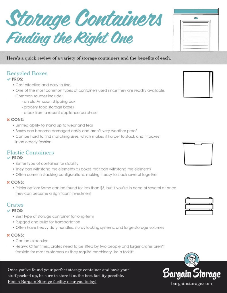 Finding the right storage container checklist