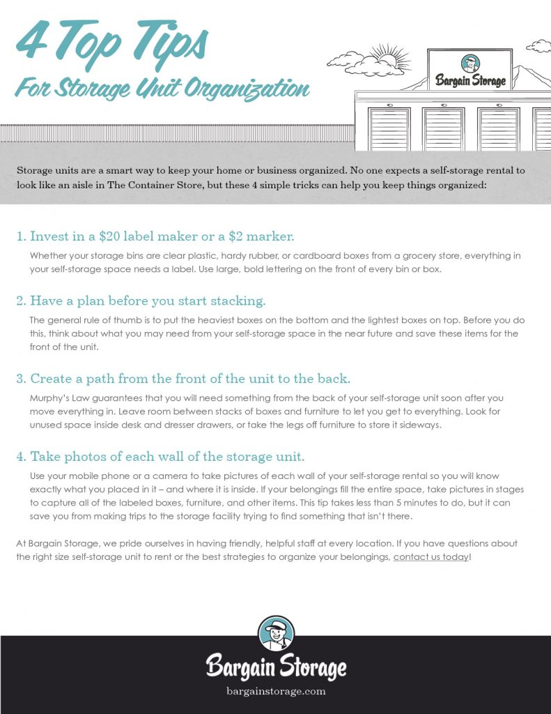 Storage Organization Checklist from Bargain Storage