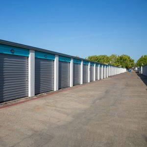 Drive up self-storage units at Oak Cliff Bargain Storage facility in Texas.